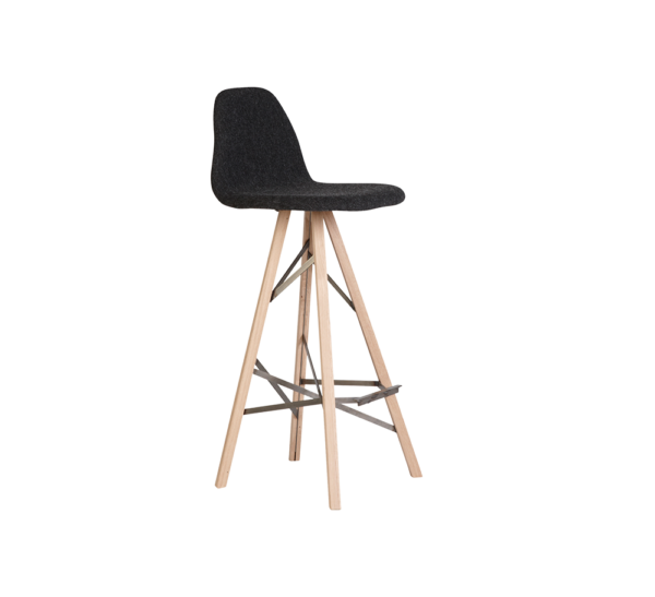 Barchair Piramide high back wood Facet zwart web